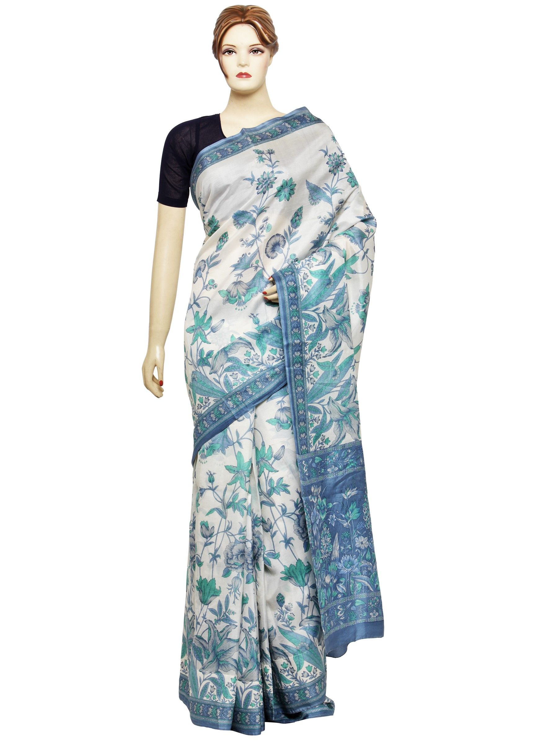 Vintage Clothing Printed Silk Saree Pure Silk Fabric  Vintage