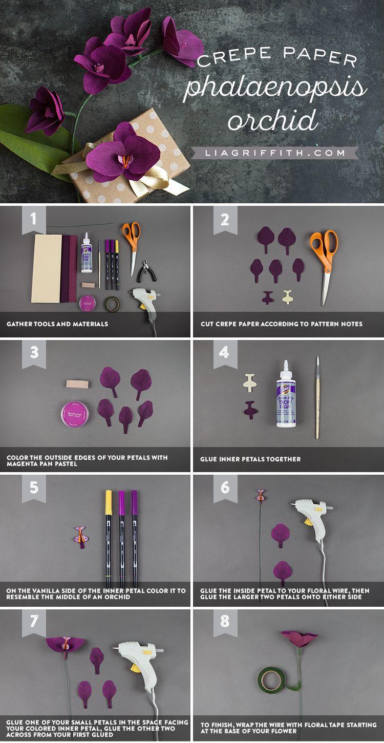 DIY Crepe Paper Orchid | paper flowers | Pinterest | Crepe paper ...