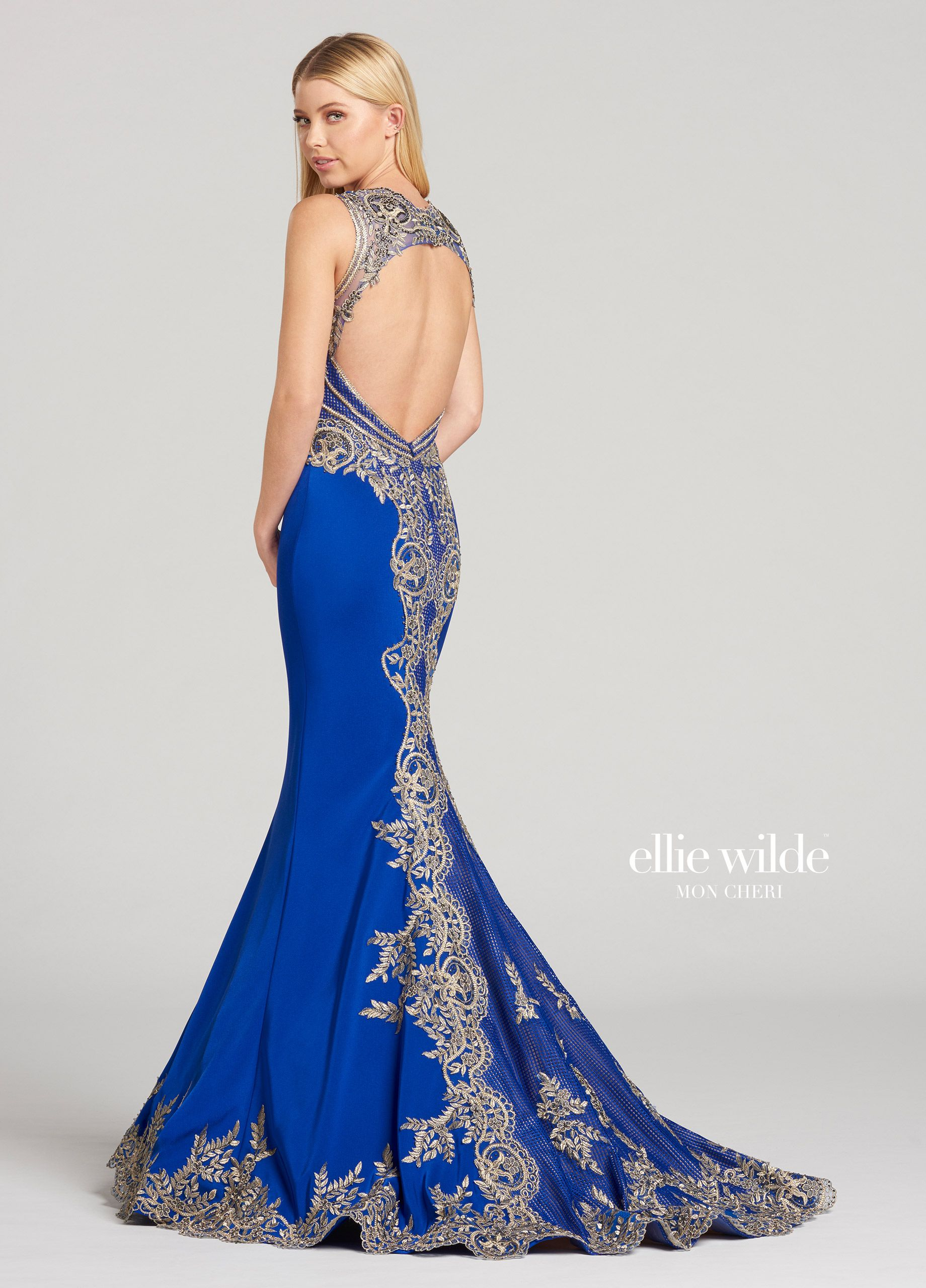 Ellie Wilde EW118124 - Sleeveless crepe and metallic lace trumpet dress  featuring a plunging sweetheart neckline b35789ed2