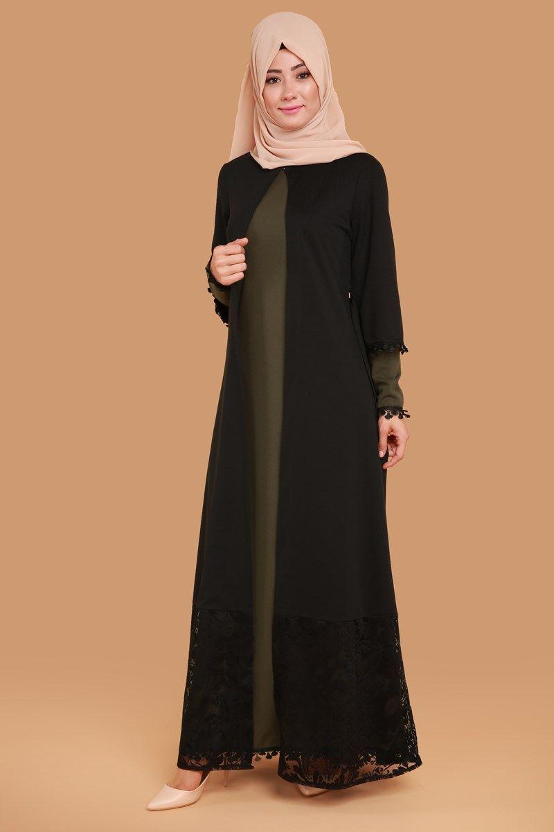 Gupur Detay Ikili Elbise Bnm00203 S Haki Abaya Tarzi The Dress Elbise