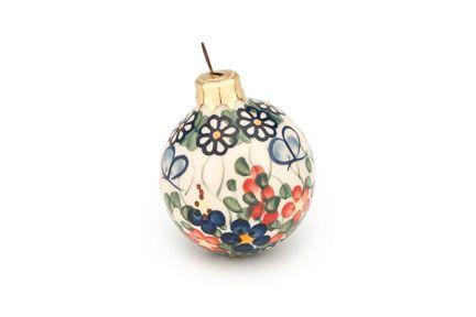 Red and Blue Roses Ceramika Boleslawiecka Kalich Polish Hand Made Christmas Ball Ornament