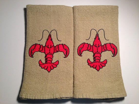 Crawfish Fleur De Lis Kitchen Towels With Images Crawfish Diy