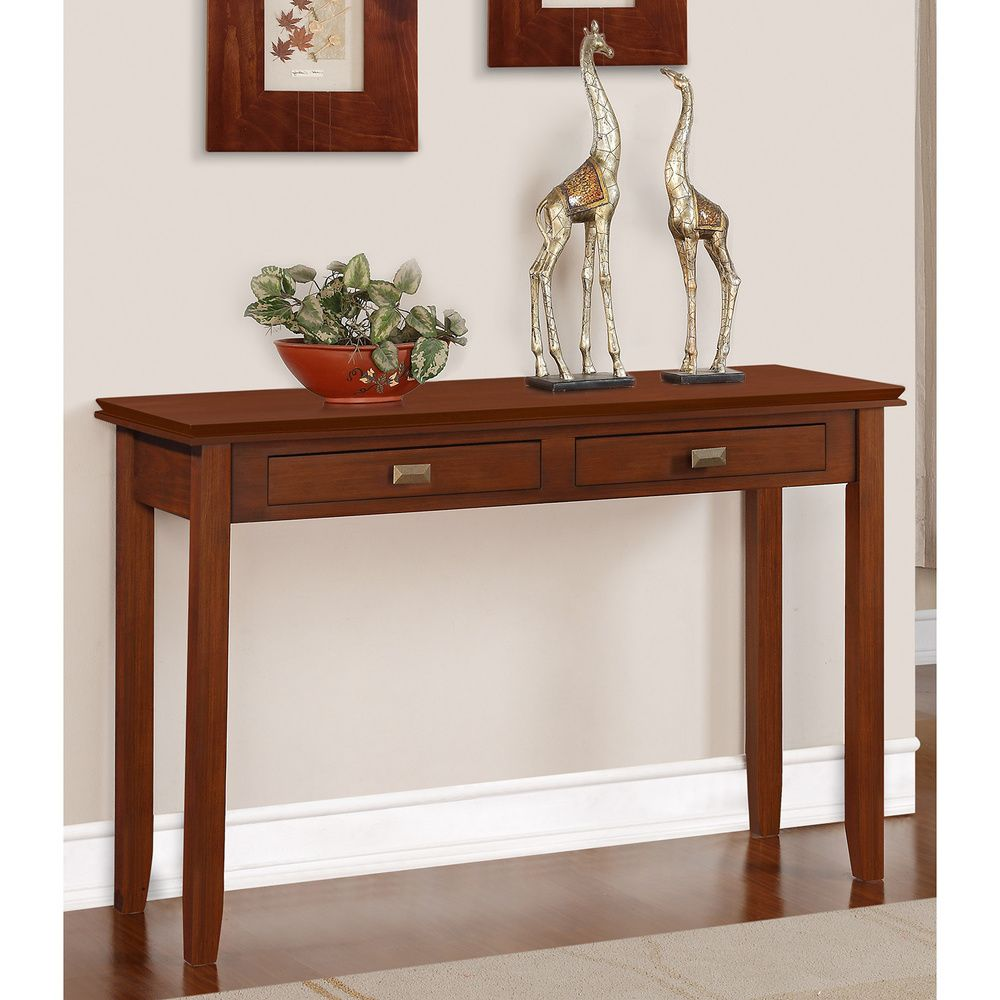 Wyndenhall stratford auburn brown console sofa table by wyndenhall stratford auburn brown console sofa table overstock shopping great deals on wyndenhall coffee geotapseo Images