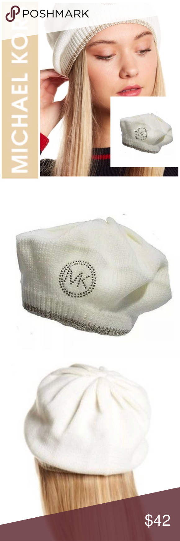 19492462eebd5 Michael Kors Cream Studded Logo Knit Beret Brand New With Tags Beautiful Michael  Kors Cream Color Studded Logo Knit Beret. Add a Flash of Flair to your ...