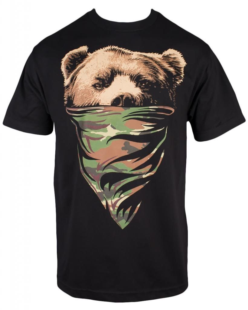 California Republic Mens Cali T Shirt (M, Black OBC Camo Bandana Bear)