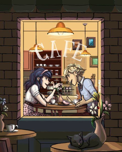Adrien and Marinette dating at a cafe~ (Miraculous Ladybug