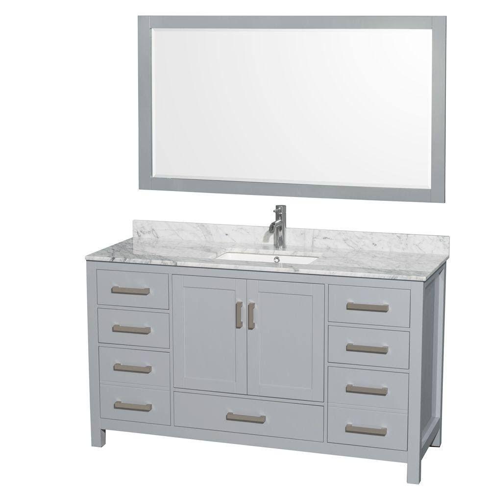 Wyndham Wcs141460sgycmunsm58 60 Inch Single Bathroom Vanity In