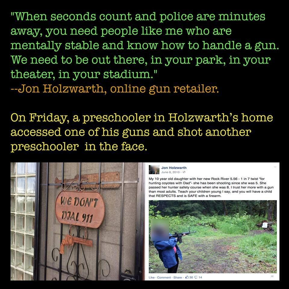 """So did he call 911?   """"demystifying"""" guns to children doesn't work..."""