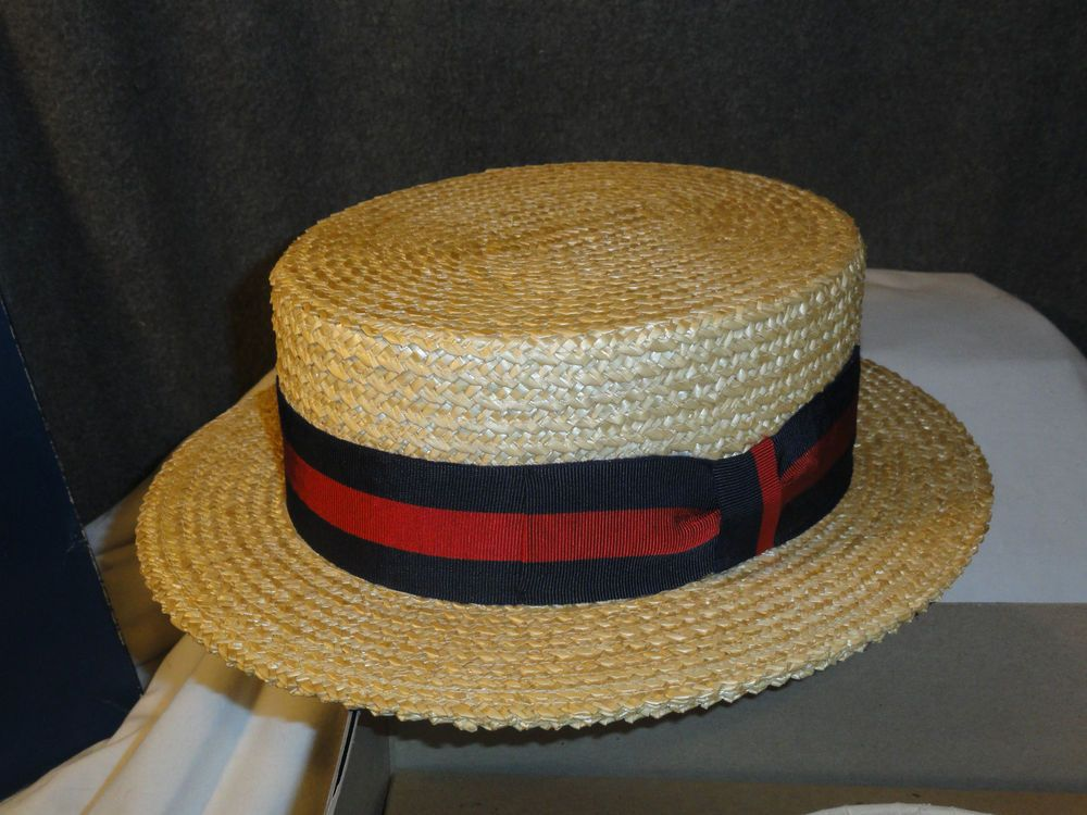 Vintage Austin Reed Red Blue Boater Straw Hat Barbershop Quartet Hat Mens Straw Hats Vintage Austin Straw Hat