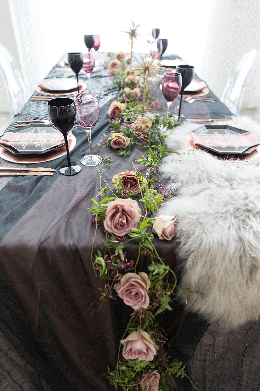Spring Themed Wedding Reception Table Decor With Dark Purple Linens