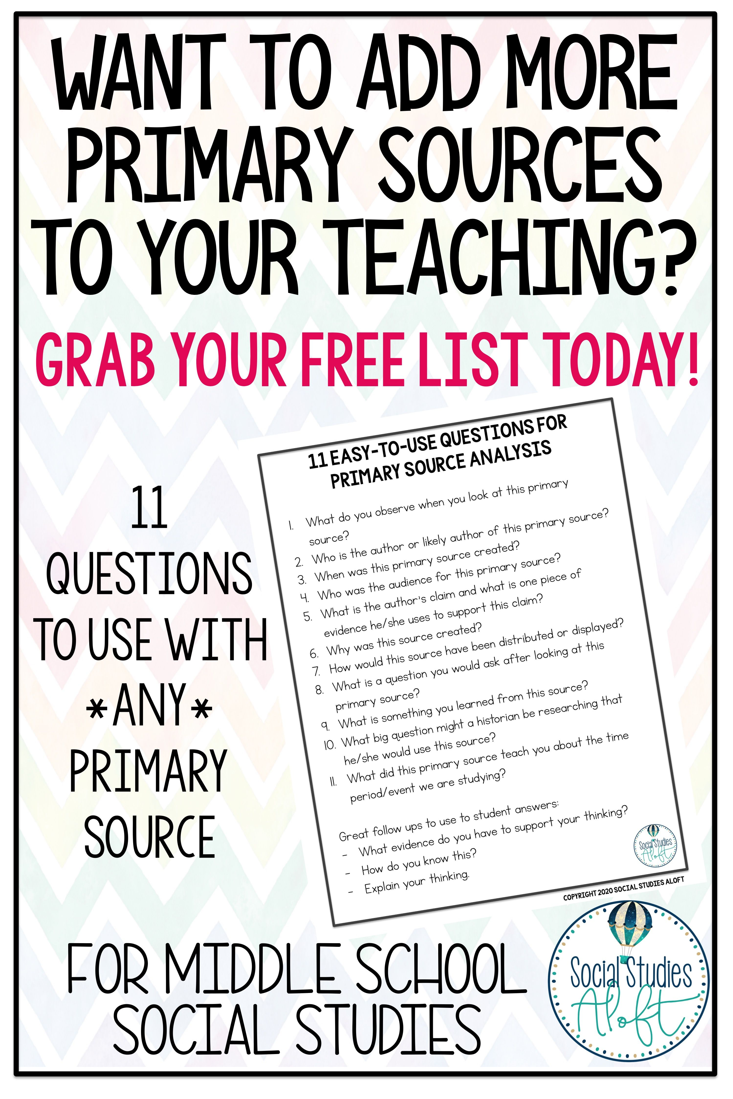 Using Primary Sources To Teach History Freebie In 2020 Primary Sources Critical Thinking Questions Historical Thinking