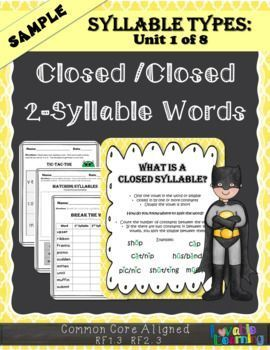 This Is A Free Sample Of Closed Syllables It Includes Break The