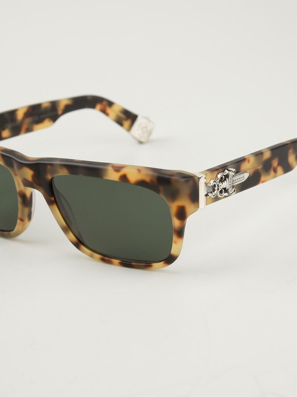 Brown \'Sluss Bussin\' sunglasses from Chrome Hearts featuring square ...