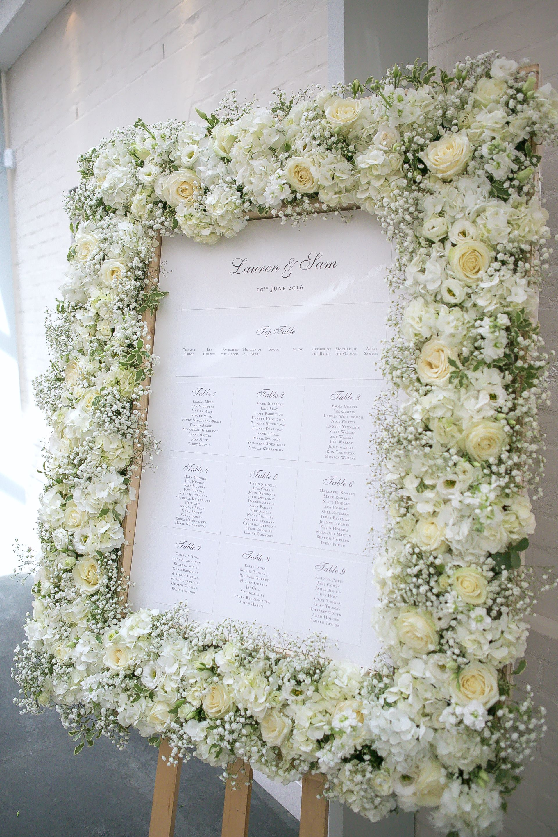 lacey white roses, hydrangeas and gypsophila table-plan floral frame ...