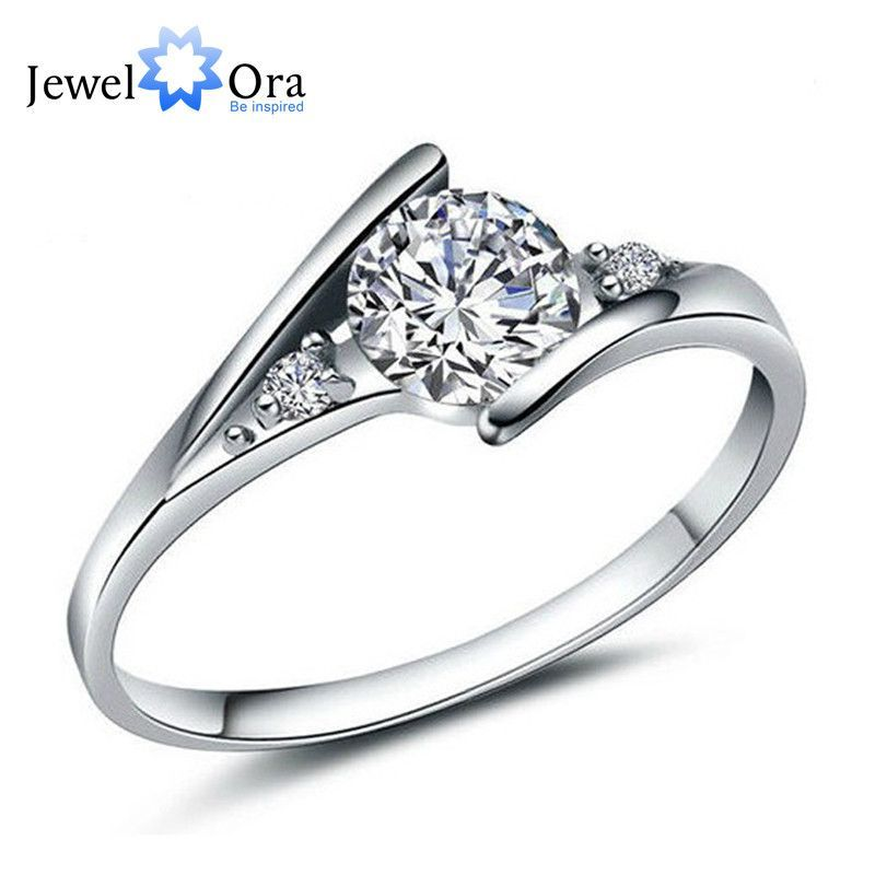 Fashion Silver Ring White Cubic Zirconia Lady Wedding Accessories Ring For Women (JewelOra RI101250)