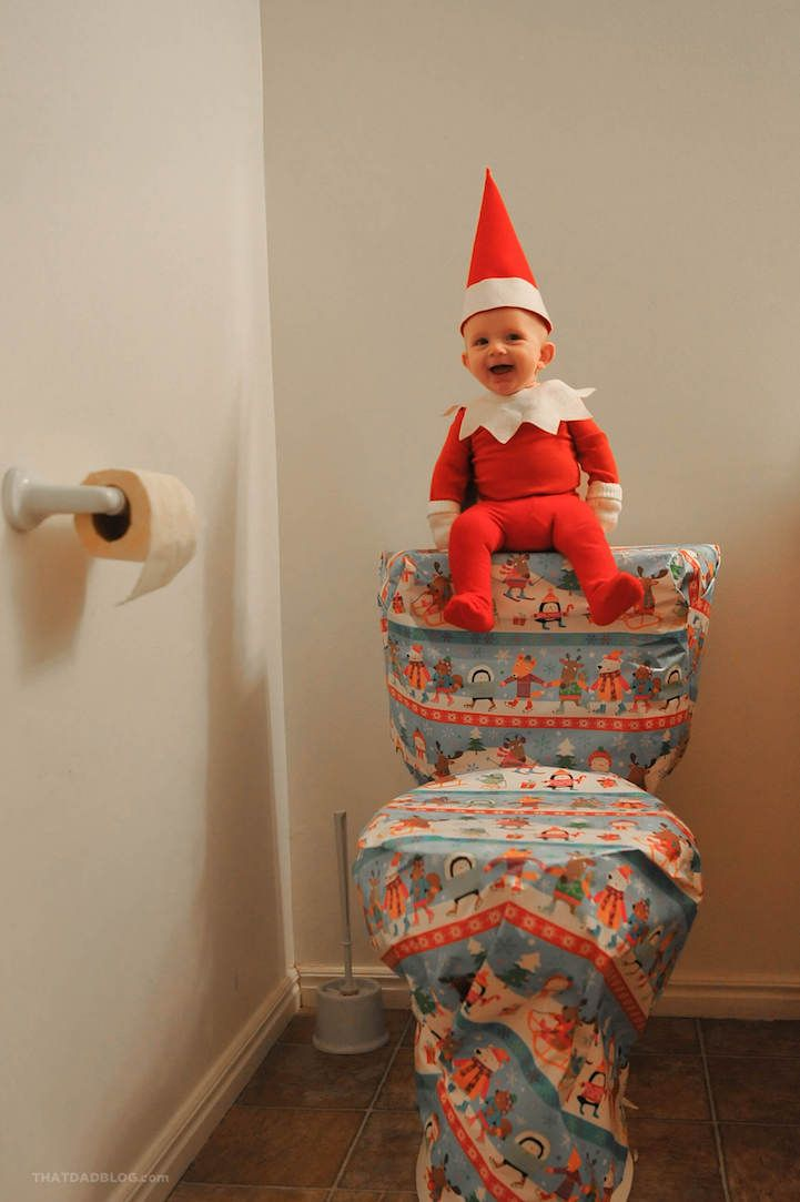 Dad Transforms His Adorable 4 Month Old Son Into A Real Life Elf On The Shelf Funny Christmas Photos Baby Christmas Photos Funny Christmas Pictures