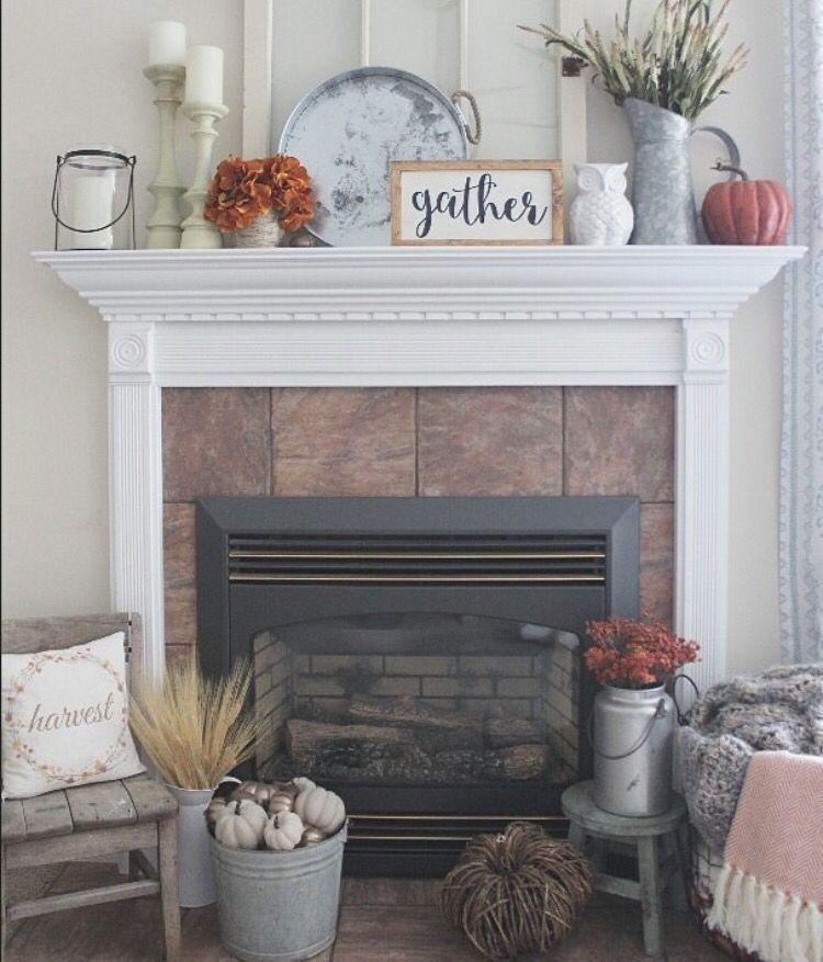 Farmhouse Falldecor Ideas: Fireplace Mantle Decor, Fall Mantle Decor