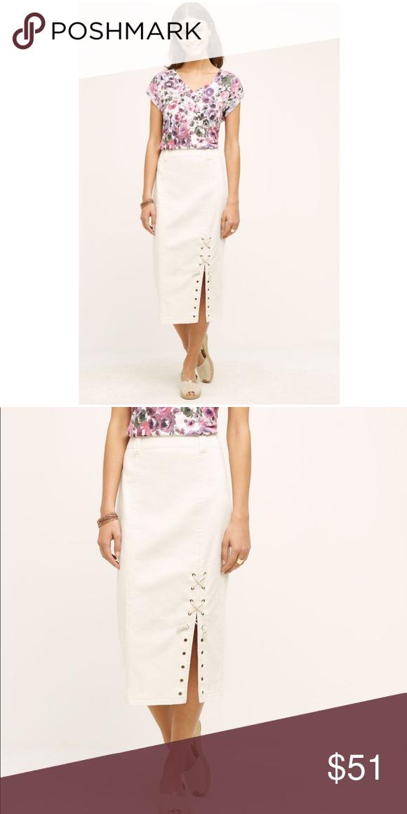 3269478f5b Anthropologie Lace-up Denim Midi Skirt Medium NWT BNWT brand new with tags  Women's size