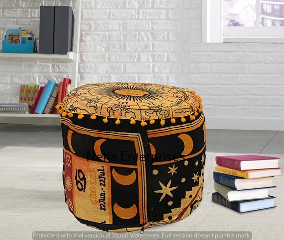 Indian Yellow Zodiac Sign Cotton Floor Pillow Cover Throw Bohemian Decorative Pouffe Footstools Round Ottomans Cover Decor