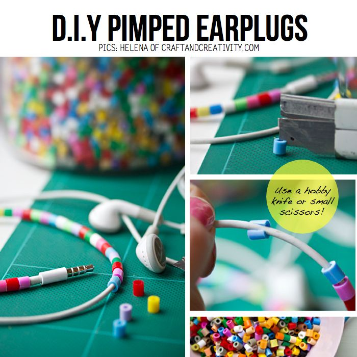 DIY beaded earphone wires...also beaded hanging light and giant beaded electrical wires for ideas.