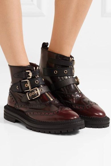 Burberry Woman Studded Coated-leather Ankle Boots Size 35 aam0u5