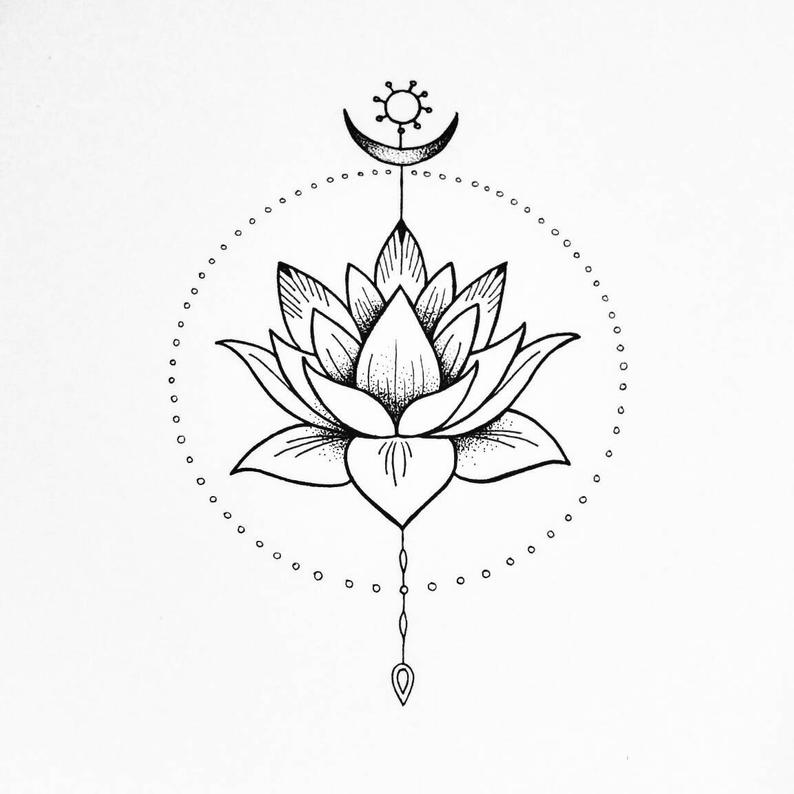 Giclee spiritual art print. The Lotus flower. Peace and harmony illustration.