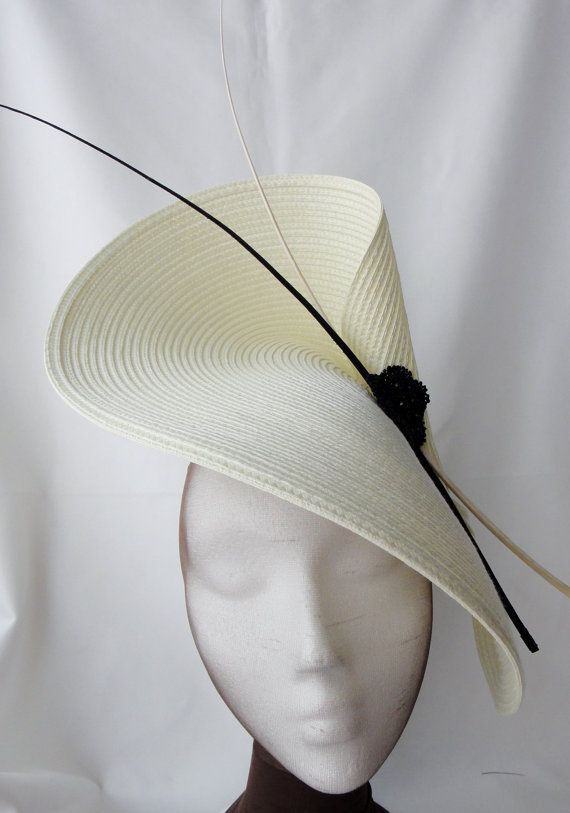 76282c4fdcc Black and white fascinator with feathers, White ascot hat, white wedding  hat, black and white hats, bridal hat, ivory cocktail fascinator