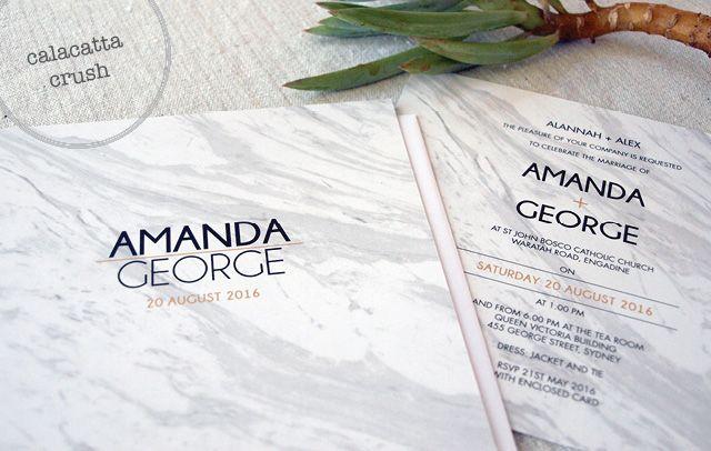 Calacatta Crush Wedding Invitation from Alannah Rose Stationery