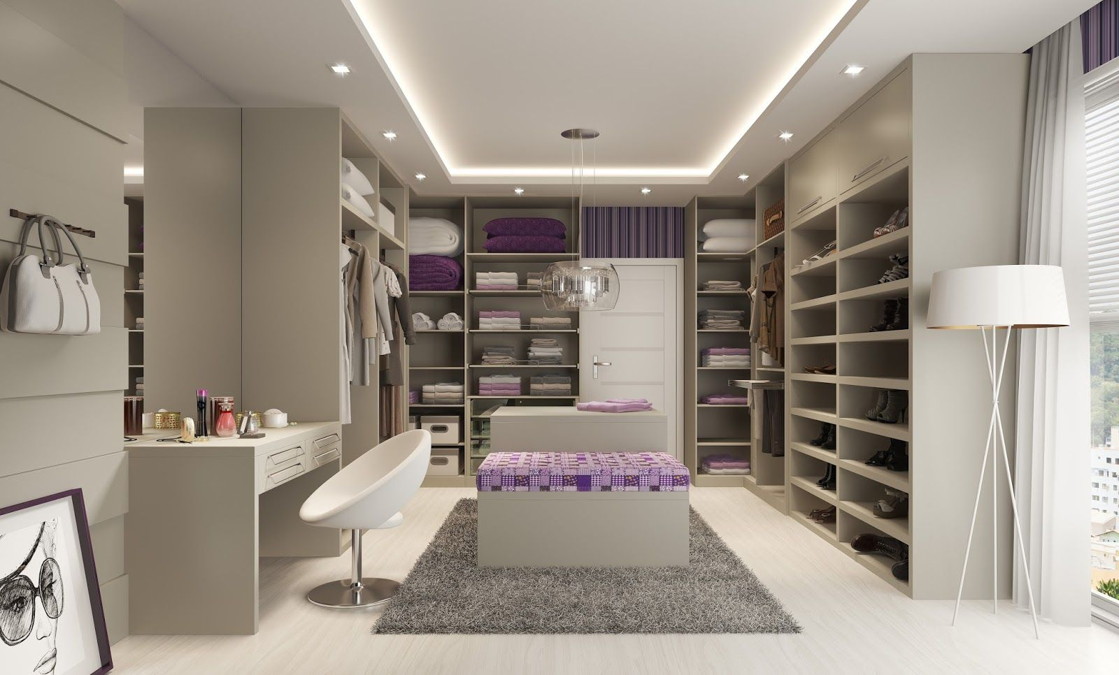 Closets Pequenos E Grandes Com Bancadas De Make Bedrooms ~ Quarto Com Suite E Closet Pequeno