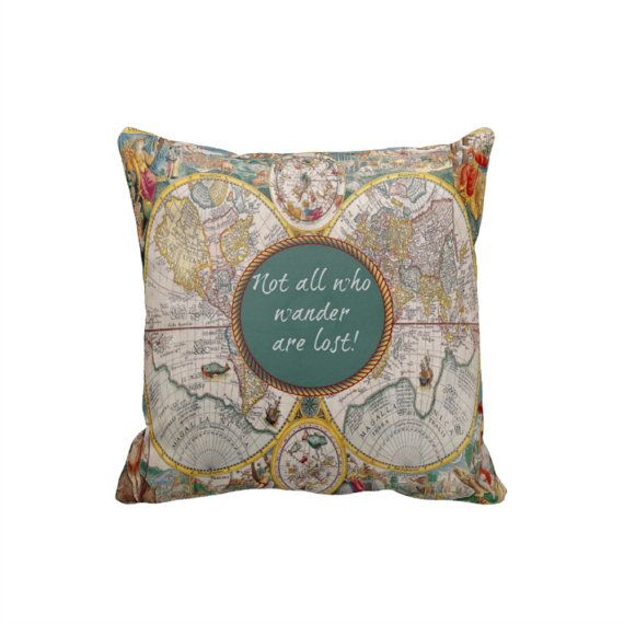 Vintage World Map Pillow Throw Pillows Not All Who by FolkandFunky