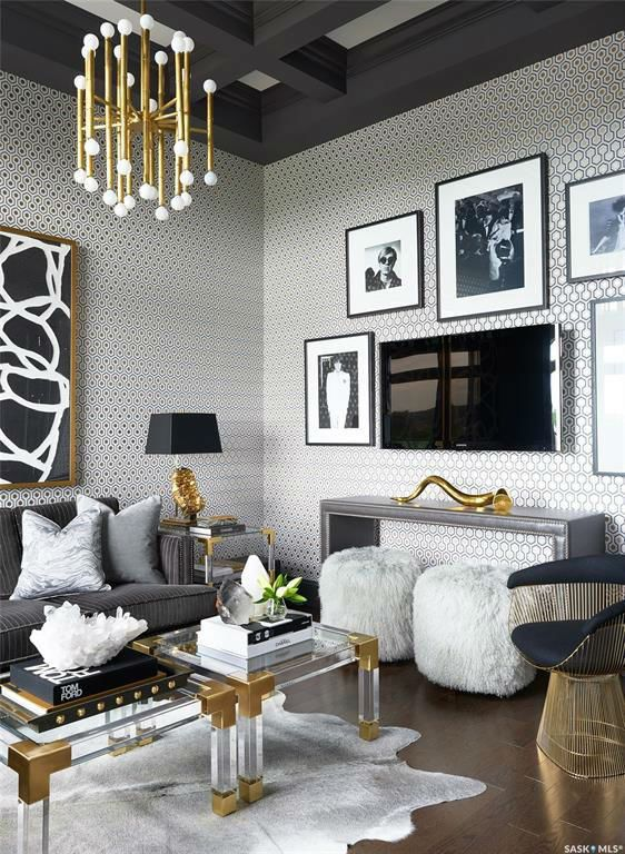 Glamorous Chic And Sophisticated Interiors Gold Living Room Glam Living Room House Interior Hollywood glamour living room decor