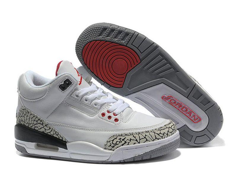 6d2ddd60f953 Air Jordan 3 Retro - Basket Jordan Pas Cher Chaussure Pour Femme Blanc/Gris  398614-105