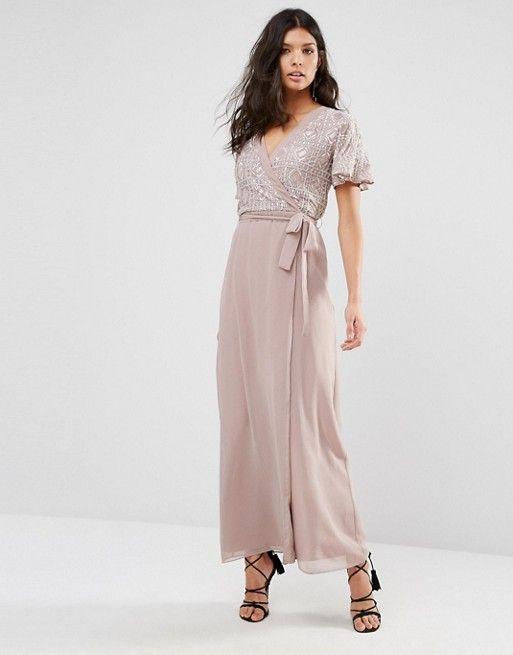 River Island Premium Embellished Wrap Maxi Dress  205d927983b