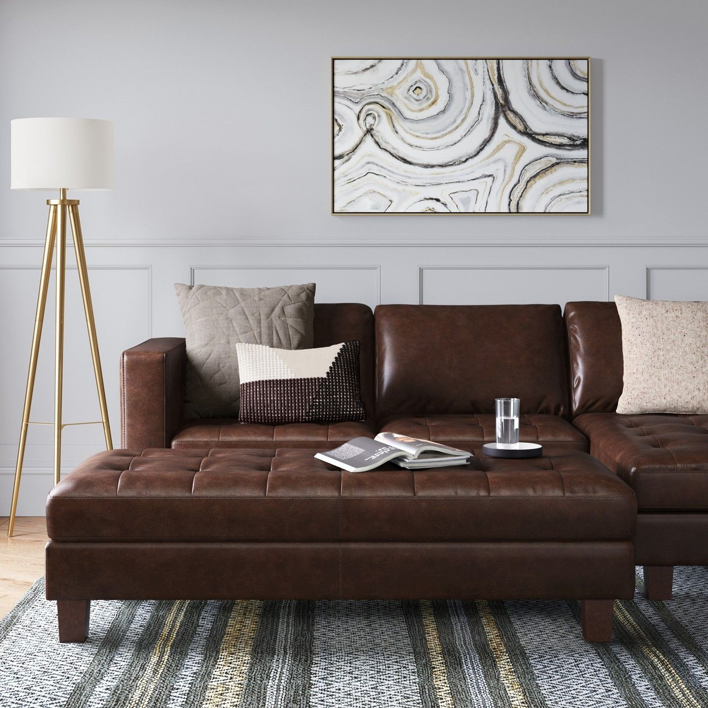 Faux Leather Sofa In A Box Edgemere Sectional Sofa And Large Ottoman Faux Leather Brown
