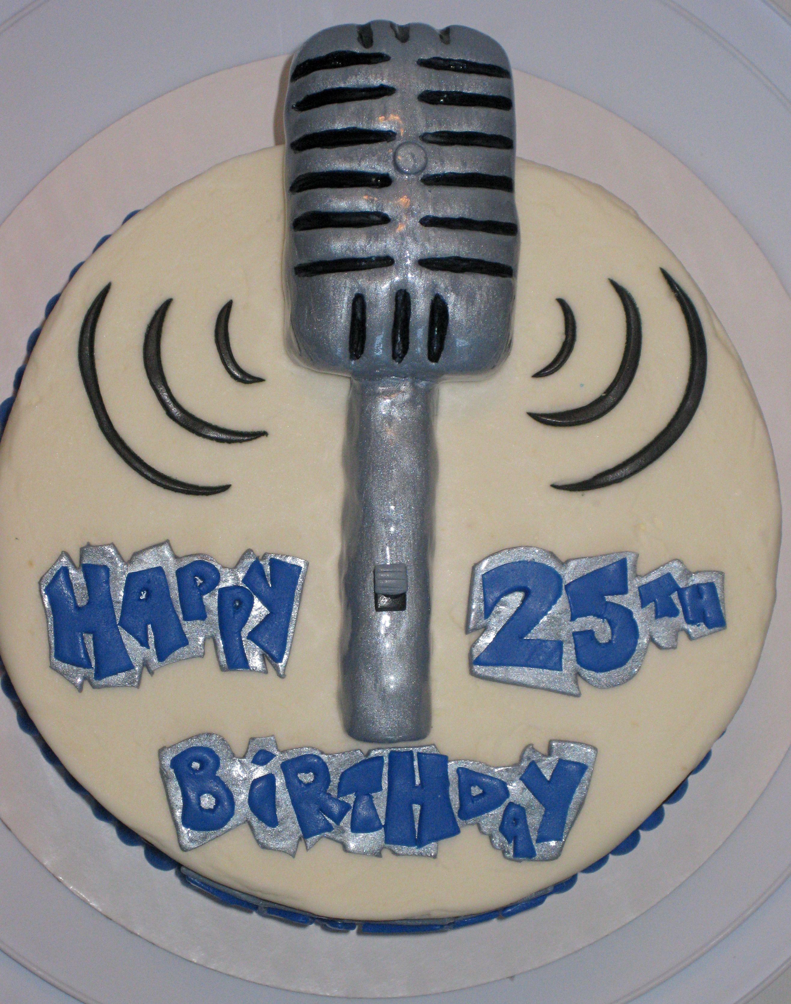 Retro Microphone Birthday Cake Cake Ideas Pinterest Birthday