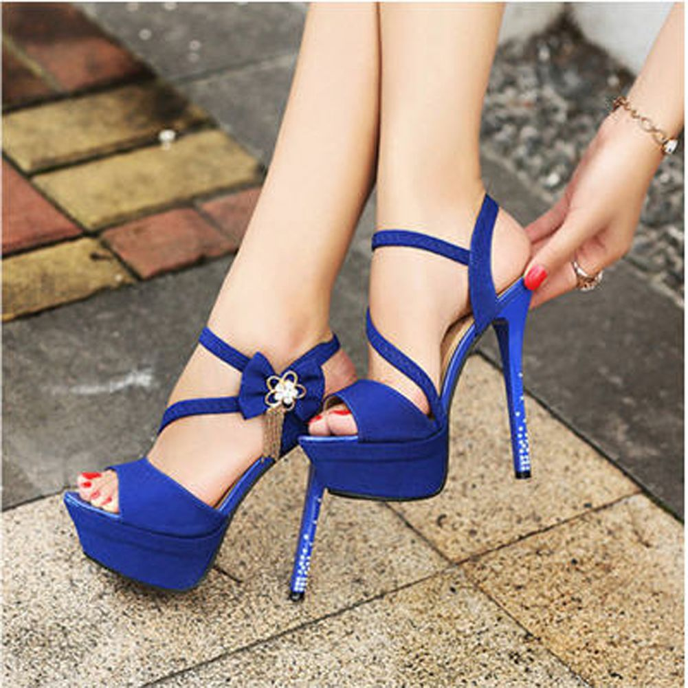 Ladies Royal Blue Peep Pumps Crystal Open Toe Wedding Stiletto ...