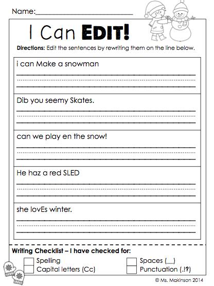 Editing worksheets 2nd grade