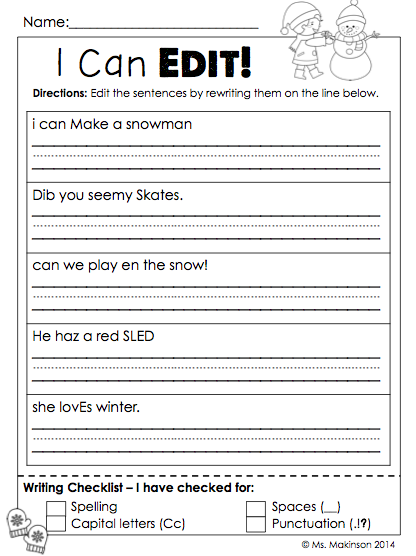 January Printables - First Grade Literacy And Math First Grade Writing, First  Grade Classroom, Writing Sentences Worksheets