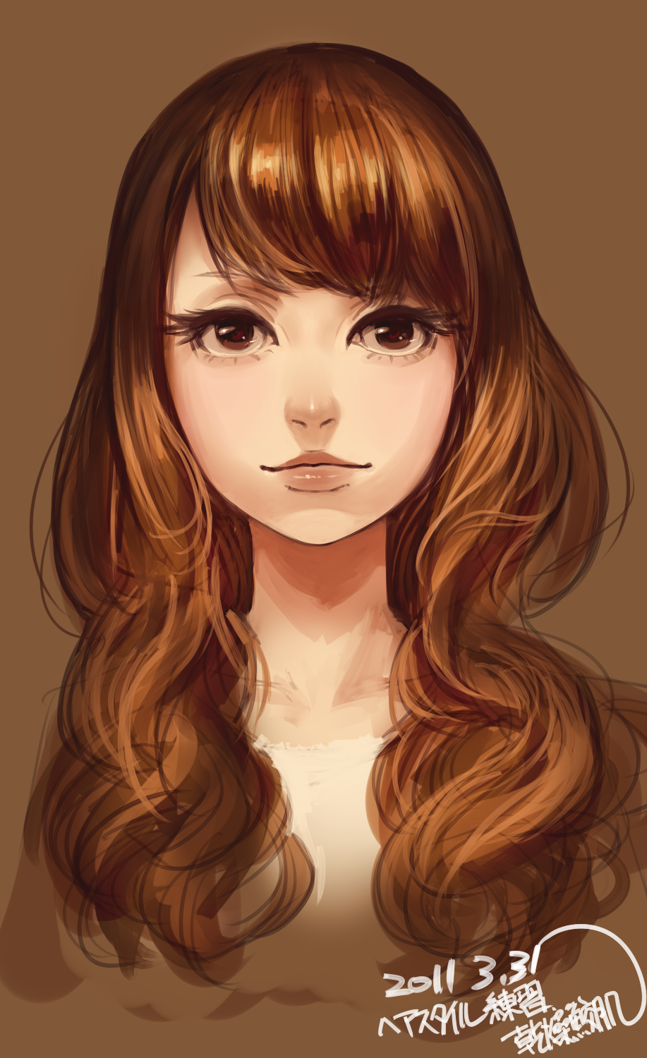 Safebooru Anime Picture Search Engine Brown Eyes Brown Hair Bust Close Up Face Highres Kansou Sameha Close Up Faces Digital Art Girl Brown Hair Brown Eyes