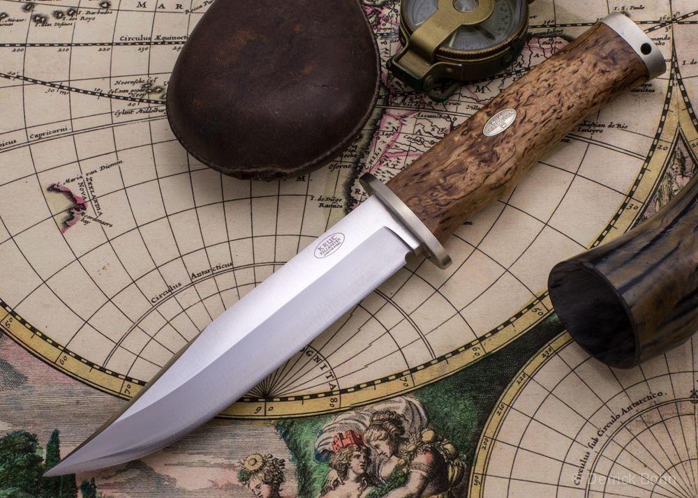 Fallkniven: SK6L Curly Birch Scandi Knife - SK6 Leather Sheath - KnivesShipFree
