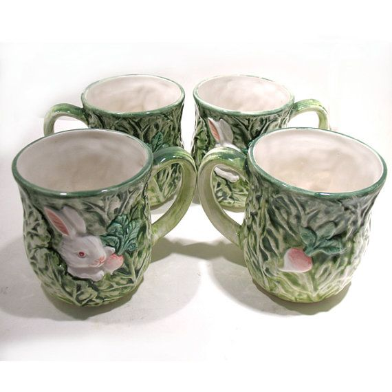 Shafford Rabbit Patch Mugs Set of 4  Bunnies  by OnlyCoolStuff