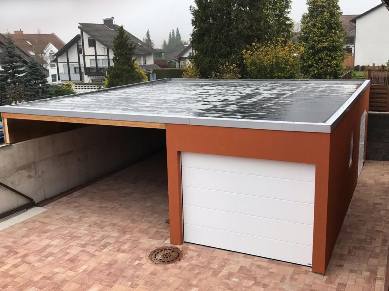 Garage Und Carport Kombination Garage Carport Kombination Mit Seitlicher Betonwand Garage