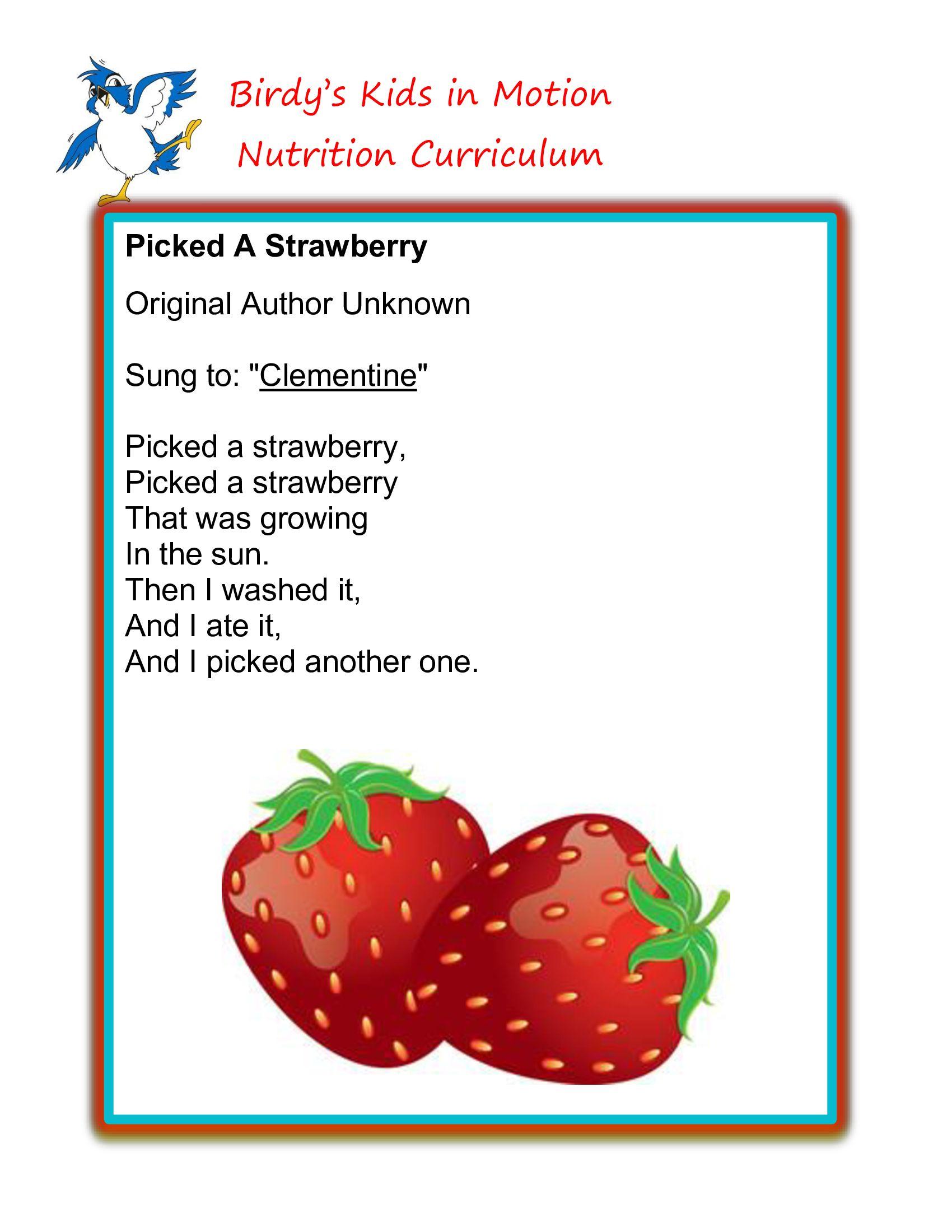 Picked A Strawberry Song Birdyskidsinmotion