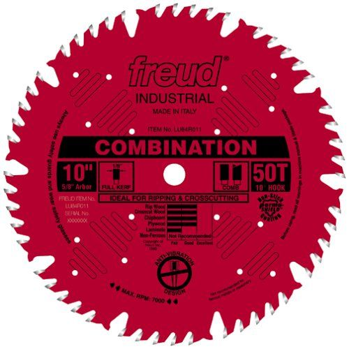 Freud Lu84r011 10 Inch 50 Tooth Atb Combination Saw Blade With 5 8 Inch Arbor And Permashield C Sliding Compound Miter Saw Circular Saw Blades Table Saw Blades