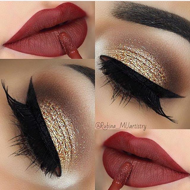 christmas makeup #weihnachten Christmas Makeup Ideas | Source: rubina_muartistry / Instagram | #Christmas | Red Lips | Gold Glitter Eyes | Festive Party Makeup #makeupideas