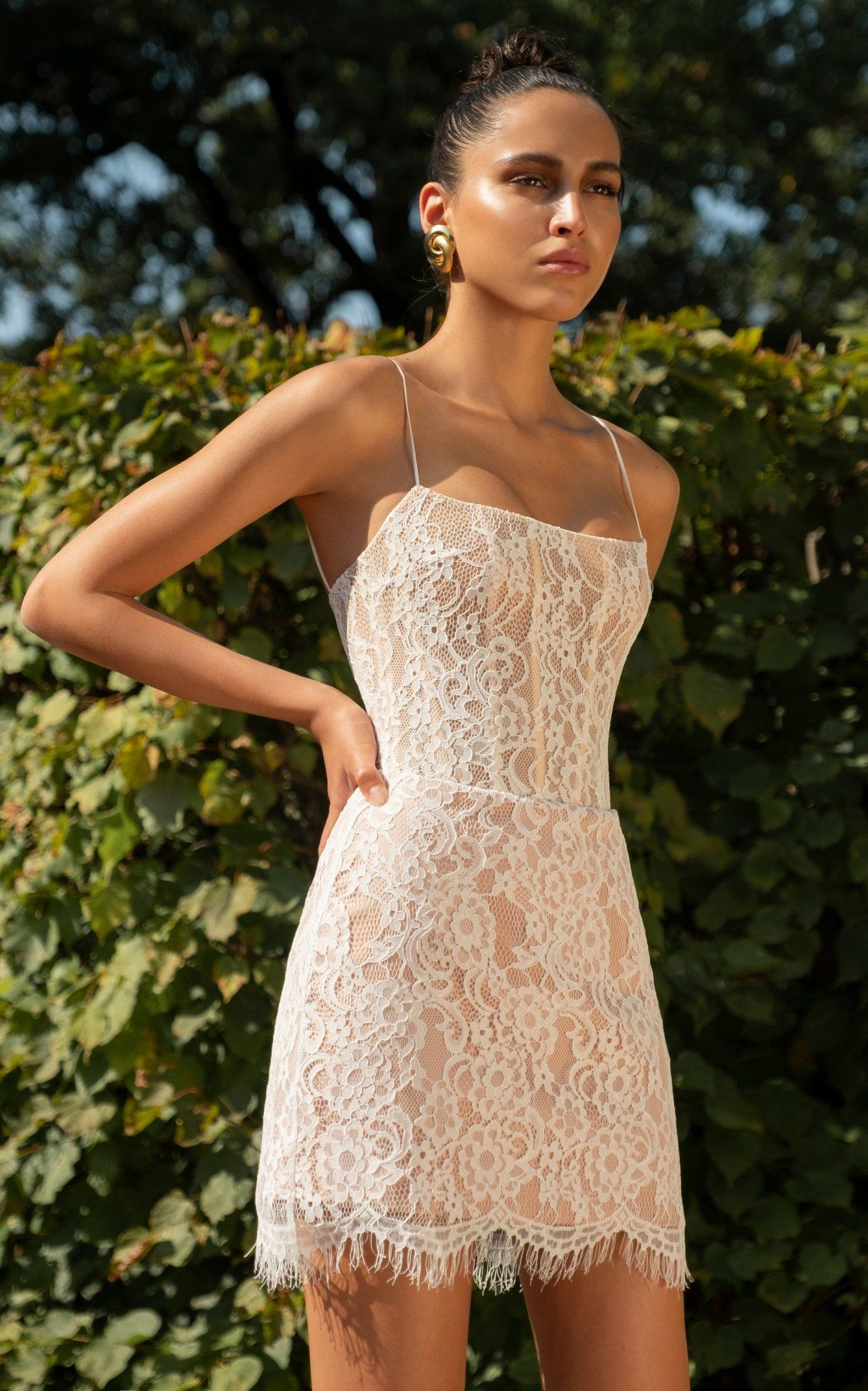 131b2084d Squar- Neck Lace Mini Dress by Rasario SS19 | Party Dressing in 2019 ...