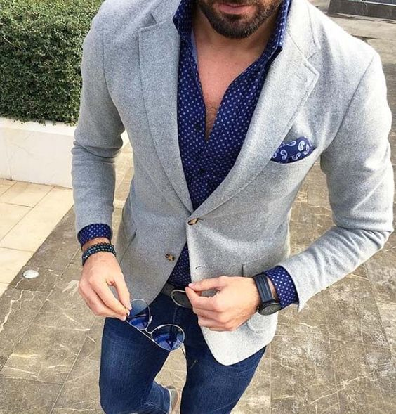Pairing A Polka Dot Clic Shirt And Navy Blue Suit Pants Will Create Powerful