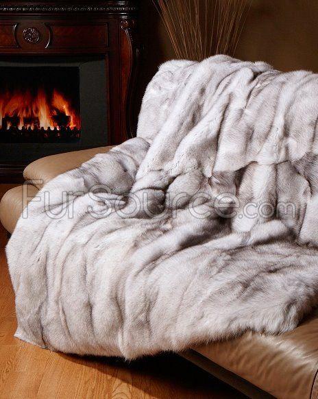 Blue Fox Fur Blanket / Fur Throw