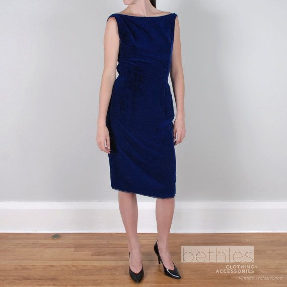 Cocktail Dress in Royal Blue Velvet Party Dress by Bethlesvintage, $75.00