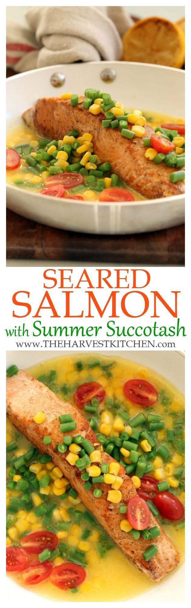 This simple Seared Salmon with Summer Succotash is a quick and easy dinner to ma #searedsalmonrecipes